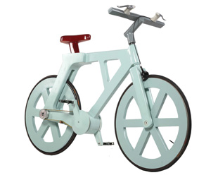 "BELOW: The ""Alpha"" bicycle is made out of 100-percent recycled materials."